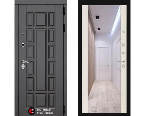 Входная металлическая дверь Labirint New York Макси Сандал Белый зеркало