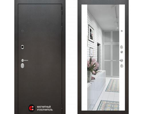 Металлическая дверь Labirint Silver с зеркалом Макси Белый Софт