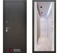Металлическая дверь Labirint Silver с зеркалом Макси Сандал Белый