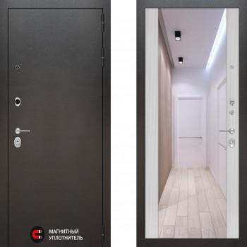 Входная металлическая дверь с зеркалом Labirint Silver с зеркалом Макси Сандал Белый