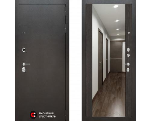 Металлическая дверь Labirint Silver с зеркалом Макси Венге