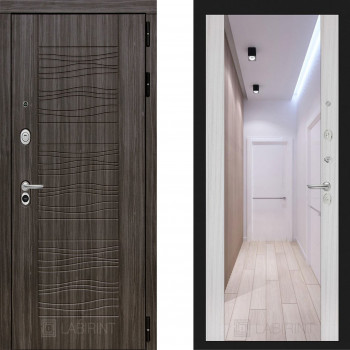 Входная металлическая дверь с зеркалом Labirint Scandi с зеркалом Макси Сандал Белый