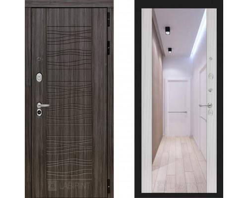 Металлическая дверь Labirint Scandi с зеркалом Макси Сандал Белый