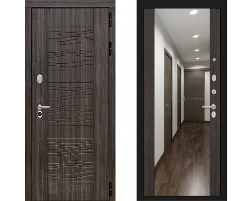 Металлическая дверь Labirint Scandi с зеркалом Макси Венге