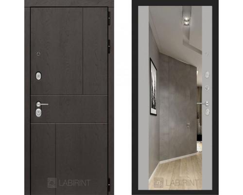 Металлическая дверь Labirint Urban с зеркалом Макси Софт Грей
