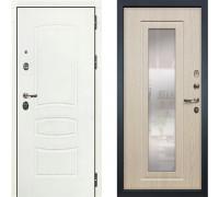 Металлическая дверь Лекс Легион Белая с зеркалом беленый дуб ( панель №23)