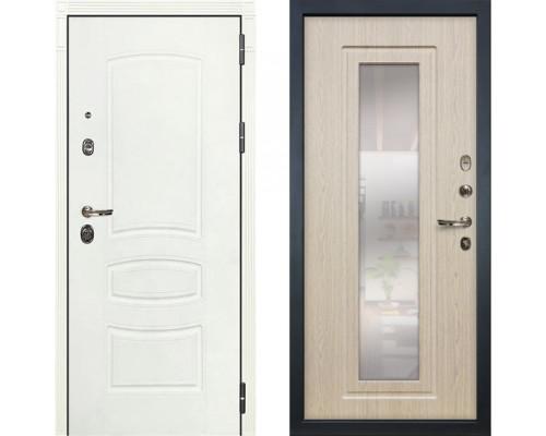 Металлическая дверь Лекс Сенатор Белая с зеркалом беленый дуб ( панель №23)