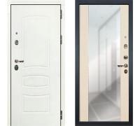Металлическая дверь Лекс Легион Белая с зеркалом беленый дуб ( панель №45)