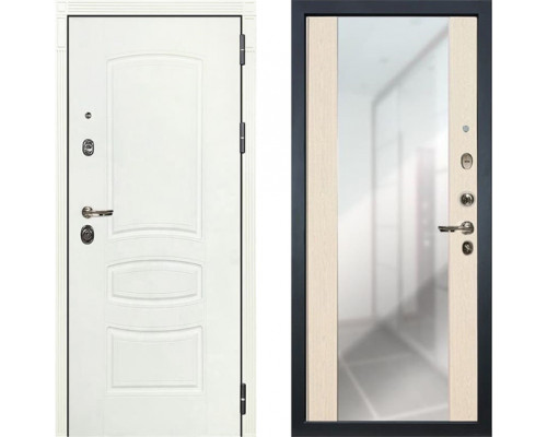 Металлическая дверь Лекс Сенатор Белая с зеркалом беленый дуб ( панель №45)