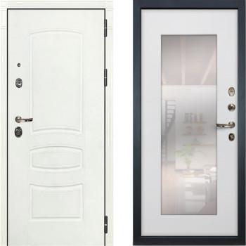 Металлическая дверь Лекс Легион Белая с зеркалом белый ясень ( панель №37)