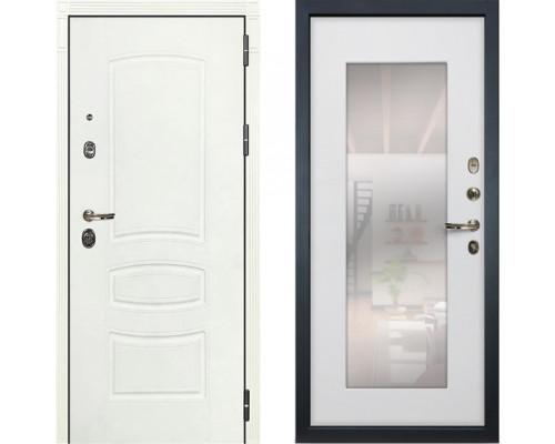 Металлическая дверь Лекс Сенатор Белая с зеркалом белый ясень ( панель №37)