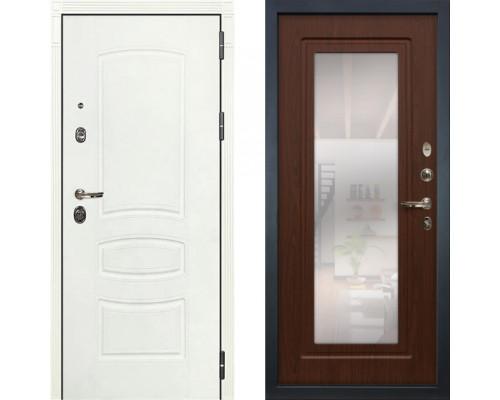 Металлическая дверь Лекс Легион Белая с зеркалом береза мореная ( панель №30)