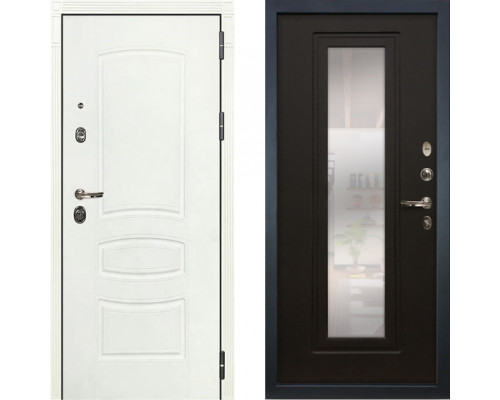 Металлическая дверь Лекс Легион Белая с зеркалом венге ( панель №22)