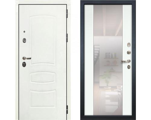 Металлическая дверь Лекс Легион Белая с зеркалом белый ясень ( панель №61)