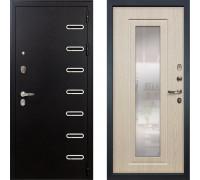 Металлическая дверь Лекс Витязь с зеркалом беленый дуб ( панель №23)