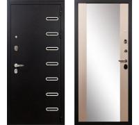 Металлическая дверь Лекс Витязь с зеркалом макси беленый дуб ( панель №45)