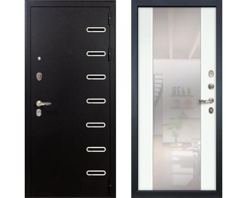 Металлическая дверь Лекс Витязь с зеркалом макси ясень белый ( панель №61)