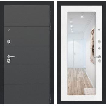 Входная дверь с зеркалом Йошкар-Ола 1А с Зеркалом Белое дерево