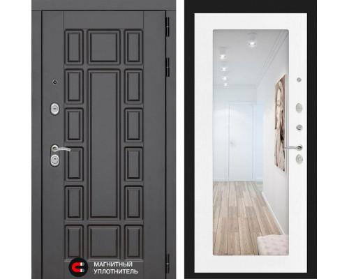 Входная зеркальная дверь с зеркалом Йошкар-Ола 2N с Зеркалом Белое дерево