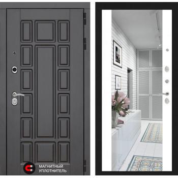 Входная металлическая дверь с зеркалом Йошкар-Ола 2N с Зеркалом Белый матовый