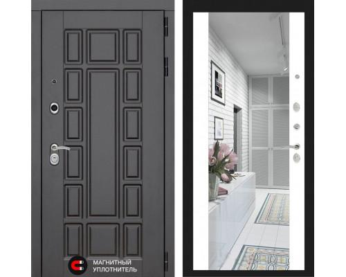 Входная дверь с зеркалом Йошкар-Ола 2N с Зеркалом Белый матовый (двери с большим зеркалом)