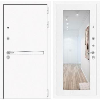 Входная дверь с зеркалом Йошкар-Ола 3L с Зеркалом Белое дерево (белые двери с зеркалом)