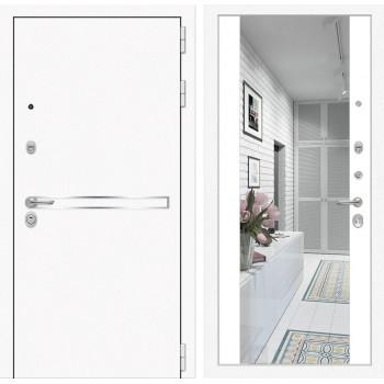 Входная зеркальная белая дверь с зеркалом Йошкар-Ола 3L с Зеркалом Белый матовый (белые двери с зеркалом)