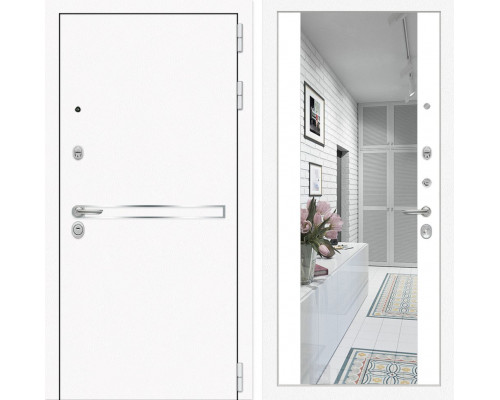 Входная дверь с зеркалом Йошкар-Ола 3L с Зеркалом Белый матовый (белые двери с зеркалом)