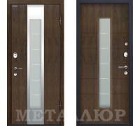 Входная металлическая дверь МеталЮр М34 Темный орех со стеклом