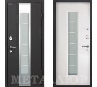 Входная металлическая дверь МеталЮр М35 Белый Малибу со стеклом