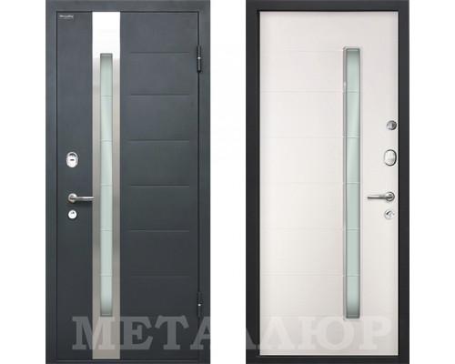 Входная металлическая дверь МеталЮр М36 Белый Малибу со стеклом
