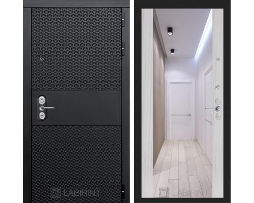 Входная дверь BLACK с зеркалом Максимум - Сандал белый