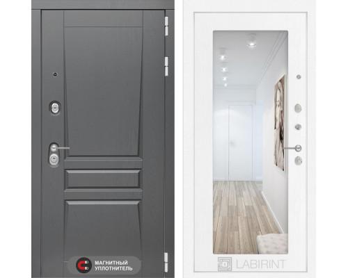 Входная дверь labirint Платинум с Зеркалом 18 (цвет Белое дерево)
