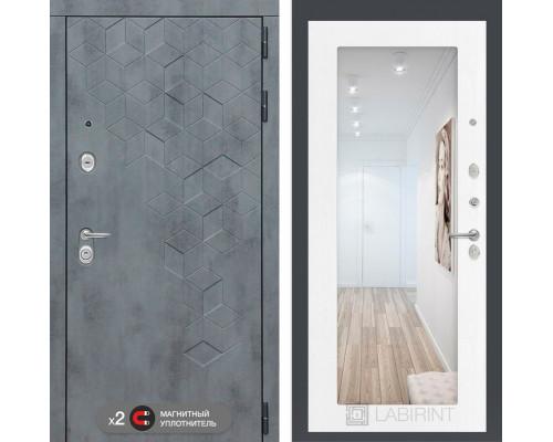 Двери Лабиринт входная дверь Labirint Бетон с зеркалом 18 (цвет Белое дерево)
