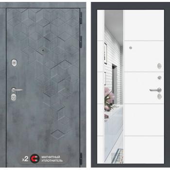 Входная дверь labirint Бетон с зеркалом 19 (цвет Белый софт)