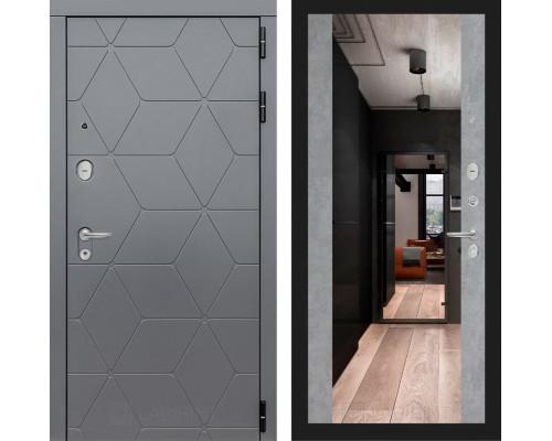 Входная дверь Labirint COSMO с зеркалом Максимум (цвет Бетон светлый)