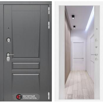 Входная дверь labirint Платинум с Зеркалом Максимум Сандал белый