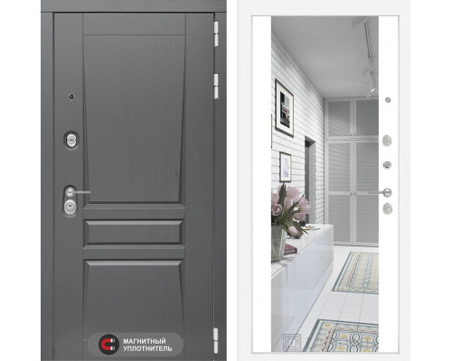 Входная дверь labirint Платинум с Зеркалом Максимум (цвет Белый софт)