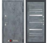 Входная дверь Labirint Бетон 20 (цвет Бетон темный, зеркальные вставки)