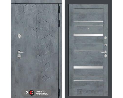 Двери Лабиринт входная дверь Labirint Бетон 20 (цвет Бетон темный, зеркальные вставки)