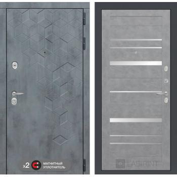 Входная дверь labirint Бетон 20 (цвет Бетон светлый, зеркальные вставки)