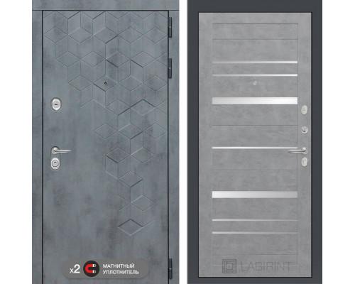 Входная дверь в квартииру Labirint Бетон 20 (цвет Бетон светлый, зеркальные вставки)