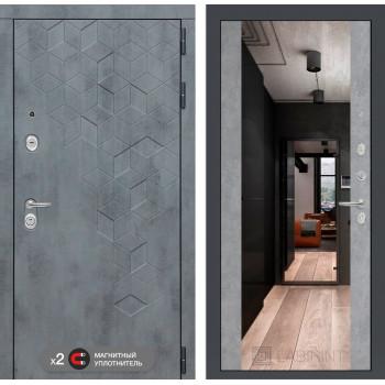 Входная дверь labirint Бетон с зеркалом Максимум (цвет Бетон светлый)