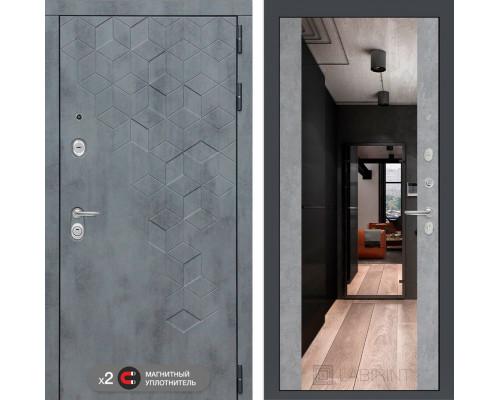 Двери Лабиринт входная зеркальная дверь labirint Бетон с зеркалом Максимум (цвет Бетон светлый)