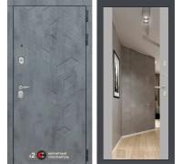 Входная зеркальная дверь labirint Бетон с зеркалом Максимум (цвет Софт Грей)