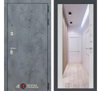 Входная дверь labirint Бетон с зеркалом Максимум (цвет Сандал белый)
