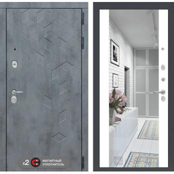 Входная дверь labirint Бетон с зеркалом Максимум (цвет Белый софт)