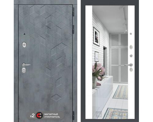 Входная зеркальная  дверь labirint Бетон с зеркалом Максимум (цвет Белый софт)