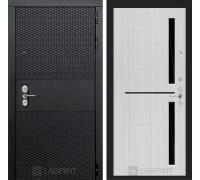 Входная дверь BLACK 02 - Сандал белый, стекло черное