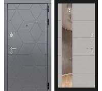 Двери Лабиринт входные двери Лабиринт Космо с зеркалом 19 (цвет Грей софт)(dveri labirint cosmo)